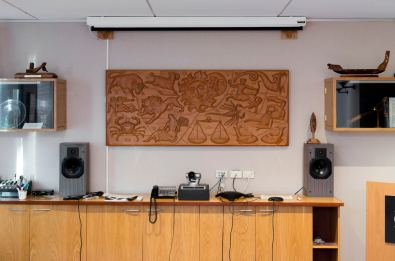 The panel's current location in the Boardroom of Radio New Zealand's Wellington offices. Image: Shaun Waugh, 2017. Courtesy Radio NZ.