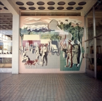 E. Mervyn Taylor mural in the Masterton Post Office building, circa 1969. Photographer unknown. Image via Masterton District Library and Archive. Record Number: 658673.