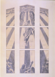 Taylor, E Mervyn (artist), 1959, Wellington , The Ascension, graphite pencil on paper. Image: Overall: 610mm (Height) x 375mm (Width). Collection of Te Papa Tongarewa Museum of New Zealand. Registration number: 1998-0033-5