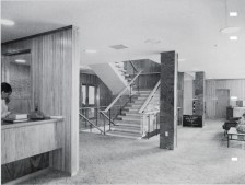 A glimpse of Taylor's mural installed in the foyer of Broadcasting House (at left of image). Image: Wm E. Toms, circa 1963.