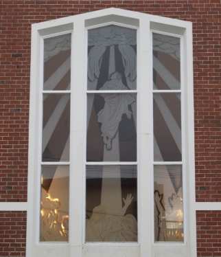 "E. Mervyn Taylor's sandblasted window ""The Ascension"", Khandallah Presbyterian Church, photographed in 2015. Image: Bronwyn Holloway-Smith"