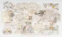 Taylor's developmental sketches for the Broadcasting House mural. Pencil on architectural film, circa 1963. Courtesy Estate of E. Mervyn Taylor.