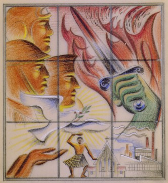 Taylor, E Mervyn (artist), Memorial window, coloured pencil on stencil paper. Image: 111mm (Height) x 101mm (Width). Support: 179mm (Height) x 178mm (Width). Collection of Te Papa Tongarewa Museum of New Zealand. Registration number: 1998-0033-7