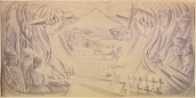 Taylor, E Mervyn (artist), 1959, Wellington , New Plymouth, graphite pencil on paper. Image: 363mm (Height) x 736mm (Width). Support: 363mm (Height) x 736mm (Width). Collection of Te Papa Tongarewa Museum of New Zealand. Registration number: 1998-0033-4