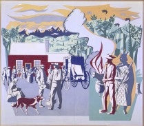 Taylor, E Mervyn (artist), 1960, Wellington , Early Settlers, gouache on paper on card. Image: 963mm (Height) x 1113mm (Width). Collection of Te Papa Tongarewa Museum of New Zealand. Registration number: 1998-0033-5
