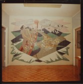 Photograph of COMPAC mural, 1975, taken by K. V. Lunn. Collection of Archives NZ. Item ID: R20940427