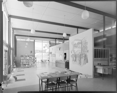 Interior, Wairoa centennial library. Winder, Duncan, 1919-1970 :Architectural photographs. Ref: DW-0302-F. Alexander Turnbull Library, Wellington, New Zealand. http://natlib.govt.nz/records/22675657. Image featured in article Centennial Library, Wairoa in the Journal of the NZ Institute of Architects, May 1963; v.30 n.4:p.62-63; issn:0000-0000.