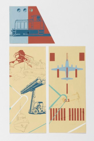 Taylor's unused design concepts for the Cable Price Downer House mural, gouache on card. Image: Shaun Waugh, 2017. Courtesy Estate of E. Mervyn Taylor.