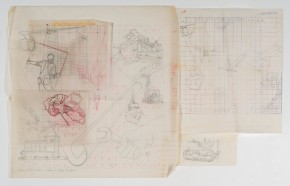 Taylor's developmental sketches for the Cable Price Downer House mural. Graphite pencil and ink on architectural film, circa 1964. Image: Shaun Waugh, 2017. Courtesy Estate of E. Mervyn Taylor.