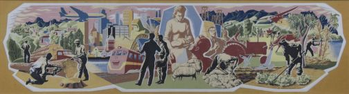 Taylor, E Mervyn (artist), 1963, Wellington , Insurance, gouache on paper on card. Image: 175mm (Height) x 670mm (Width) Support: 317mm (Height) x 710mm (Width). Collection of Te Papa Tongarewa Museum of New Zealand. Registration number: 1998-0033-6