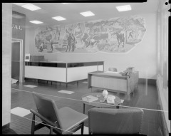 Taylor's lost mural for the National Mutual Life Assurance building, Wellington. Photo: Duncan Winder, 1963. Courtesy Alexander Turnbull Library, Wellington, DW-1259-F
