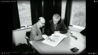E. Mervyn Taylor discusses his mural design with Norman Taylor, Director of the New Zealand Soil Bureau. Still from Pictorial Parade No. 128, New Zealand National Film Unit, 1962.