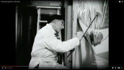 E. Mervyn Taylor painting the mural. Still from Pictorial Parade No. 128, New Zealand National Film Unit, 1962.