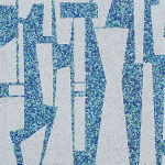 Detail of Guy Ngan's Bledisloe State Building penthouse frieze showing blue and white mosaic tiles