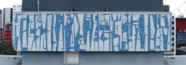 West profile of Guy Ngan's Bledisloe State Building penthouse frieze, 1956. Image: Aerialsmiths, courtesy of Auckland Council, 2019, edited by Bronwyn Holloway-Smith